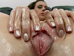Close up pussy and anus fingering with lotion