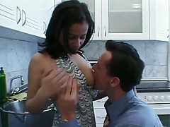 In the kitchen with natural tits Peggy Sue undressing and licked on counter