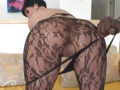 Pulling on Shey Fox pantyhose and shaved milf pussy close up